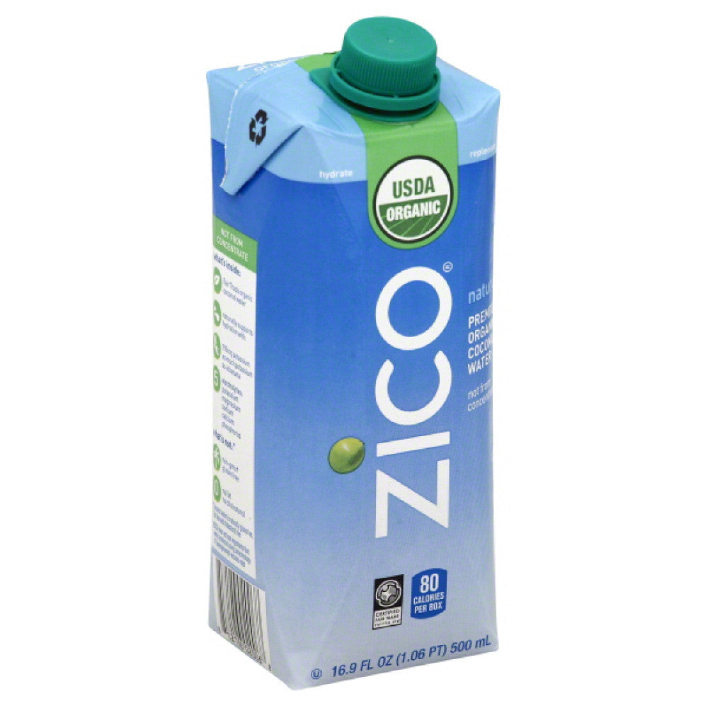 Zico Organic Premium Coconut Water, 500 Ml (Pack of 12)