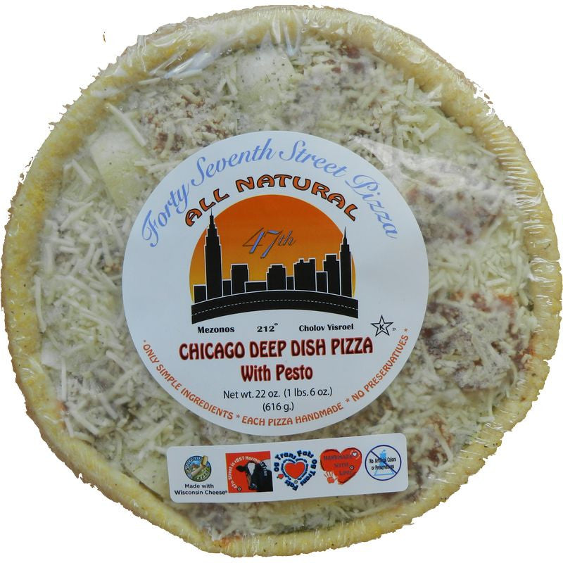 47th Street Pizza Chicago Deep Dish with Pesto Pizza White Crust, 22 oz, (Pack of 6)