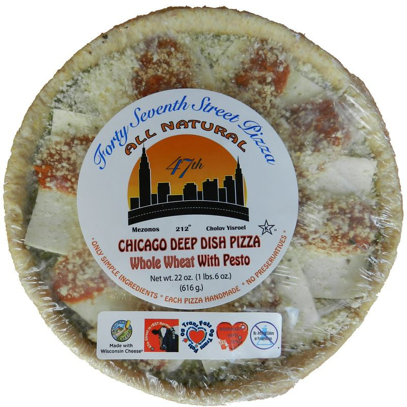 47th Street Pizza Chicago Deep Dish with Pesto Pizza Whole Wheat Crust, 22 oz, (Pack of 6)