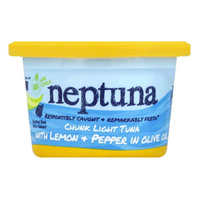 Neptuna with Lemon + Pepper in Olive Oil Chunk Light Tuna, 5.64 Oz (Pack of 12)