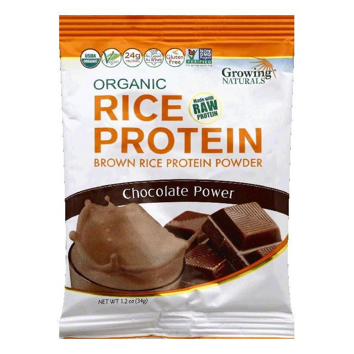 Growing Naturals Chocolate Power Brown Rice Protein Powder, 1.2 OZ (Pack of 12)