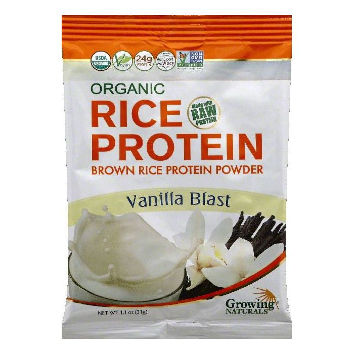 Growing Naturals Vanilla Blast Brown Rice Protein Powder, 1.1 OZ (Pack of 12)
