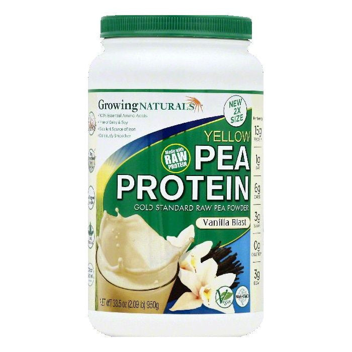 Growing Naturals Vanilla Blast Yellow Pea Protein, 33.5 OZ