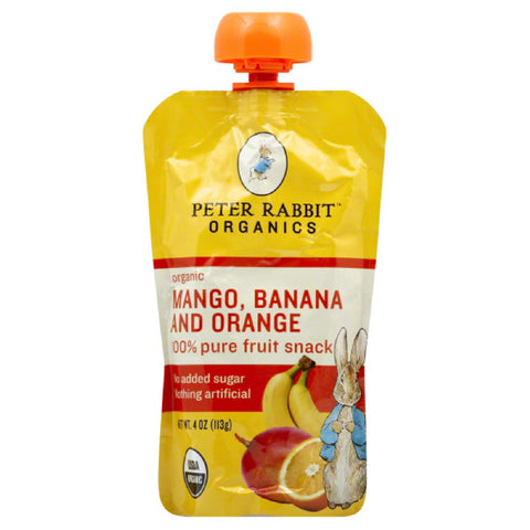 Peter Rabbit Banana and Orange Mango Organic 100% Pure Fruit Snack, 4 Oz (Pack of 10)