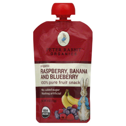 Peter Rabbit Banana and Blueberry Raspberry Organic 100% Pure Fruit Snack, 4 Oz (Pack of 10)