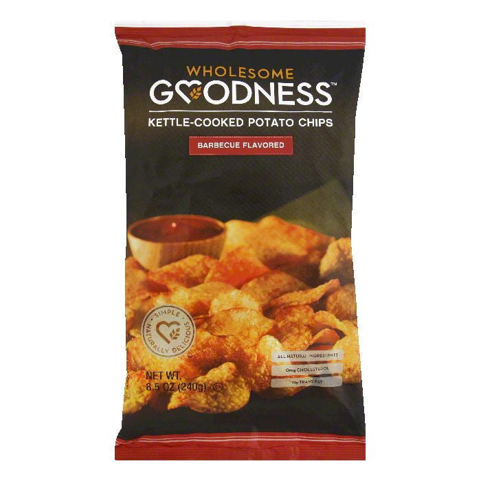 Wholesome Goodness Barbecue Flavored Kettle-Cooked Potato Chips, 8.5 Oz  ( Pack of  8)