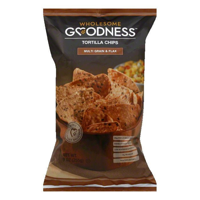 Wholesome Goodness Multi Grain & Flax Tortilla Chips, 9 Oz  ( Pack of  8)