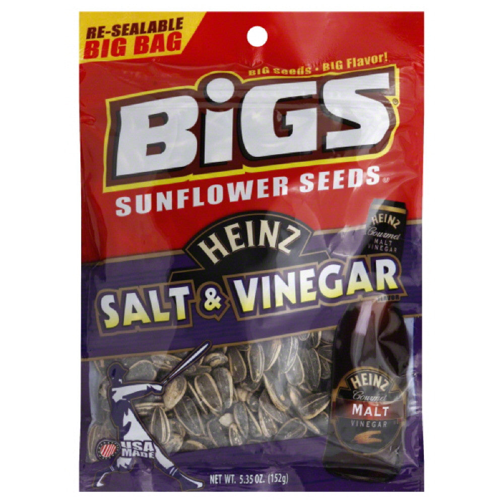 Bigs Big Bag Heinz Salt & Vinegar Flavor Sunflower Seeds, 5.35 Oz  ( Pack of  8)
