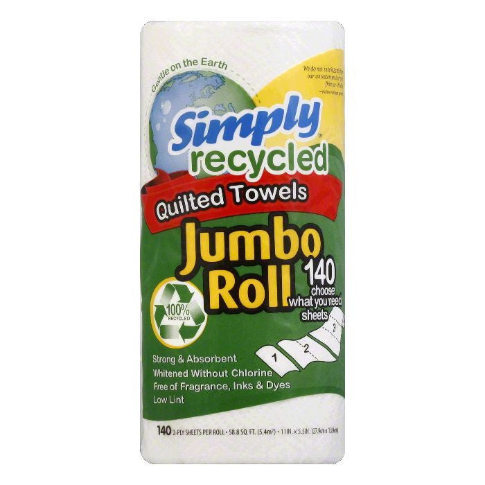 Simply Recycled Jumbo Roll White Quilted Paper Towels, 1 EA