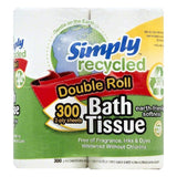 Simply Recycled 2-Ply Double Roll Bath Tissue, 300 ea