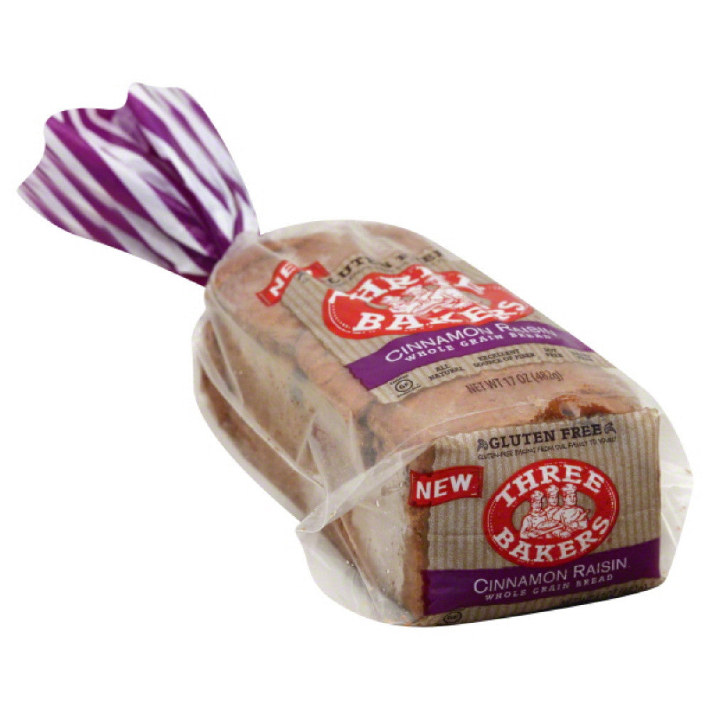 Three Bakers Cinnamon Raisin Whole Grain Bread, 17 Oz (Pack of 6)