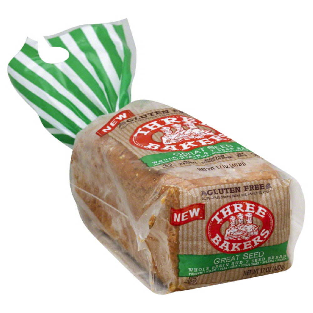 Three Bakers Great Seed Whole Grain and 7 Seed Bread, 17 Oz (Pack of 6)
