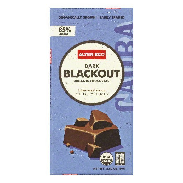 Alter Eco Dark Blackout Bar 85%, 2.82 OZ (Pack of 12)