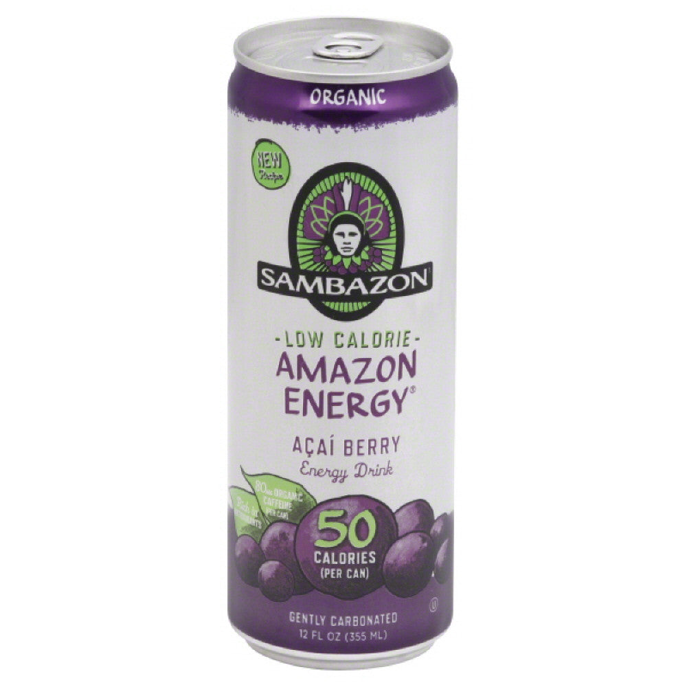 Sambazon Acai Berry Low Calorie Organic Energy Drink, 12 Fo (Pack of 24)