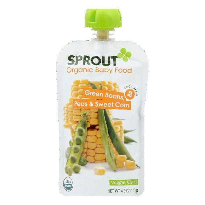 Sprout 6 Months & Up 2 Peas & Sweet Corn Green Beans Organic Baby Food, 4 OZ (Pack of 10)