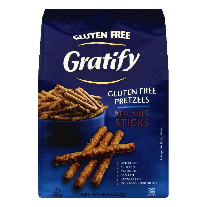 Gratify Sea Salt Sticks Gluten Free Pretzels, 8 OZ (Pack of 6)