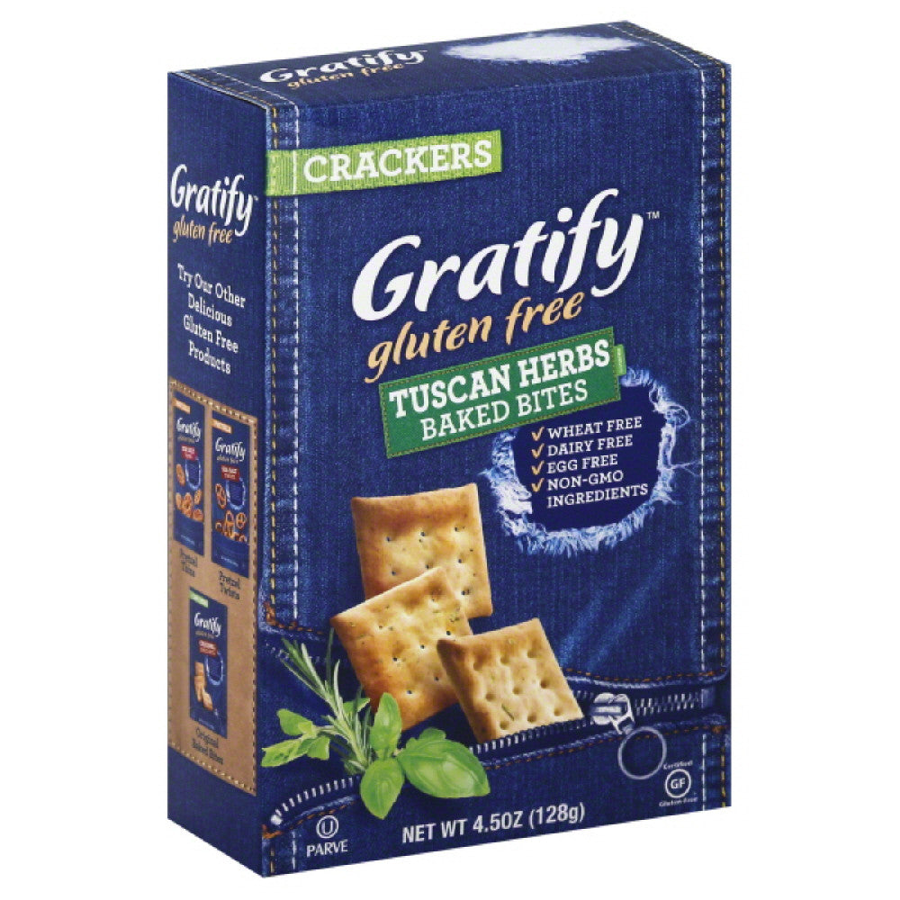 Gratify Tuscan Herbs Baked Bites Crackers, 4.5 Oz (Pack of 12)