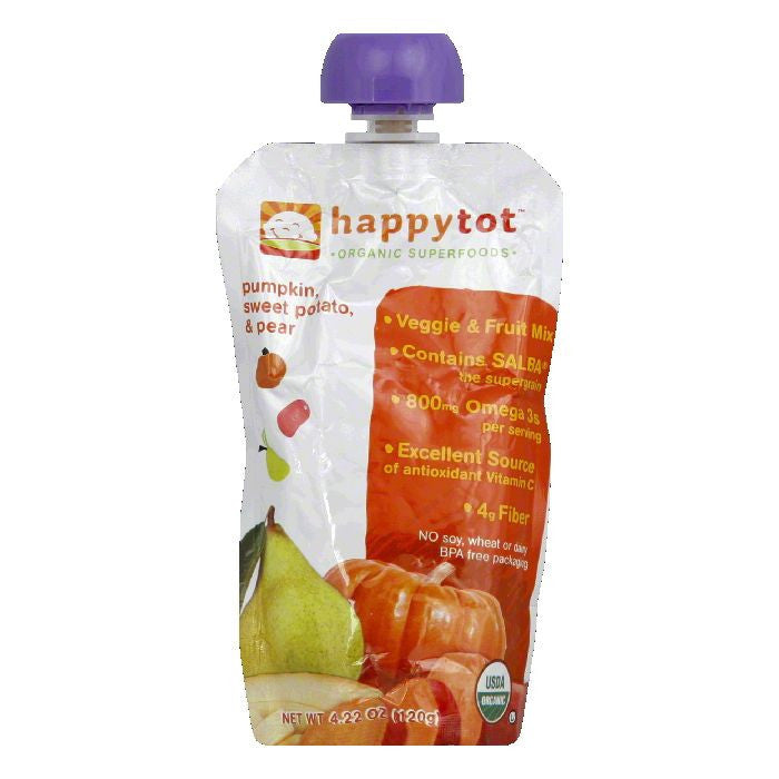 Happy Tot Sweet Potato & Pear Pumpkin Veggie & Fruit Mix, 4.22 Oz (Pack of 16)
