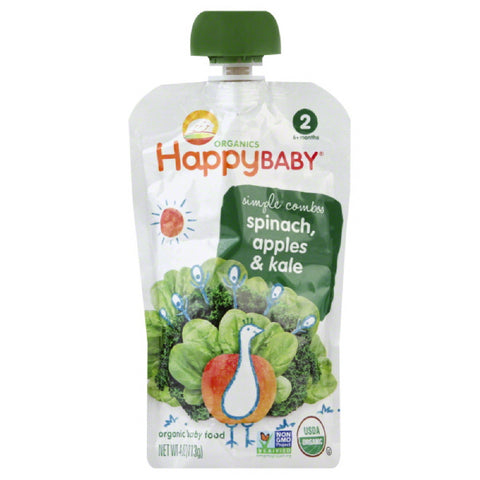 Happy Baby 2 (6+ Months) Apples & Kale Spinach Organic Baby Food, 3.5 Oz (Pack of 16)