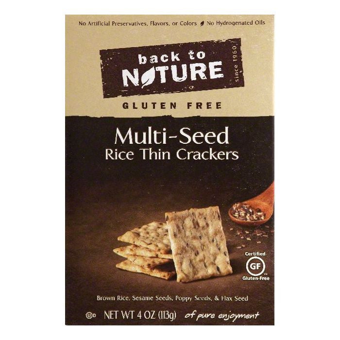 Back To Nature Gluten Free Multi-Seed Rice Thin Crackers, 4 OZ (Pack of 12)