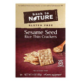Back To Nature Gluten Free Sesame Seed Rice Thin Crackers, 4 OZ (Pack of 12)