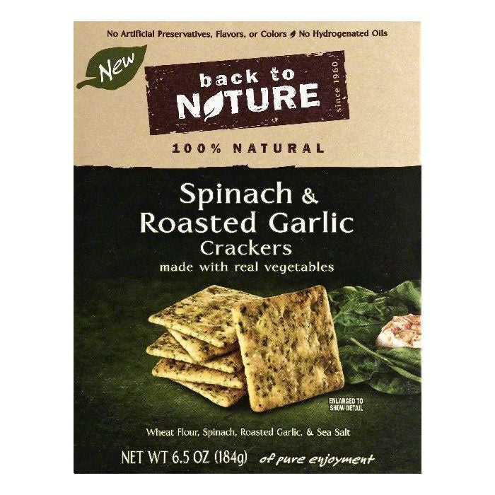 Back To Nature Spinach & Roasted Garlic Crackers, 6.5 OZ (Pack of 6)