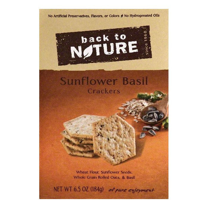 Back To Nature Sunflower Basil Crackers, 6.5 OZ (Pack of 6)