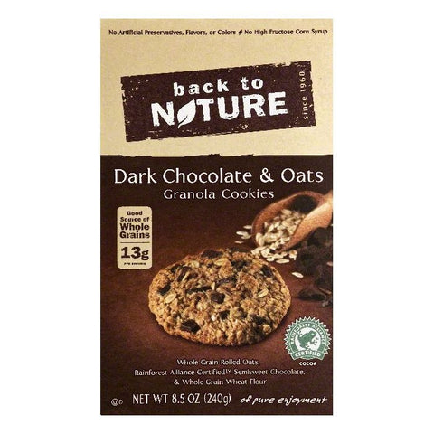 Back To Nature Dark Chocolate & Oats Granola Cookies, 8.5 OZ (Pack of 6)