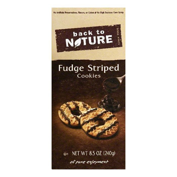 Back To Nature Fudge Striped Cookies, 8.5 OZ (Pack of 6)