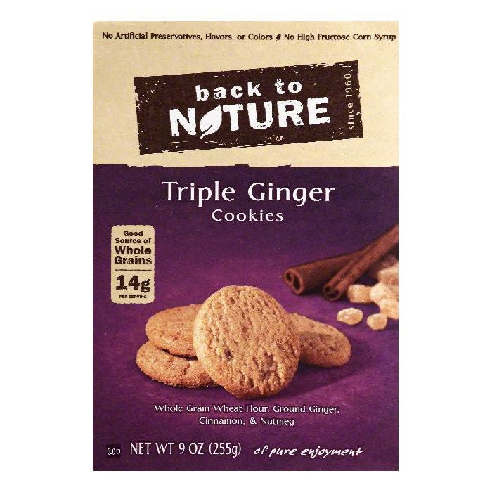 Back To Nature Triple Ginger Cookies, 9 OZ (Pack of 12)