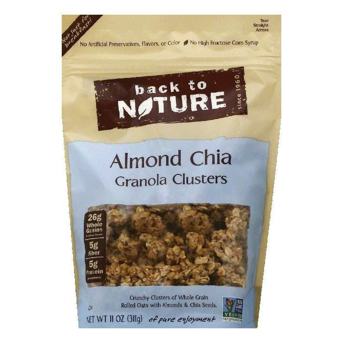 Back To Nature Almond Chia Clusters Granola, 11 OZ (Pack of 6)