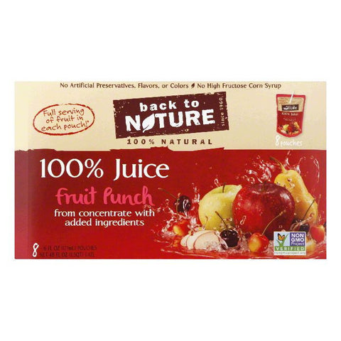 Back to Nature 8 pk All Natural Fruit Punch Juice, 48 OZ (Pack of 5)