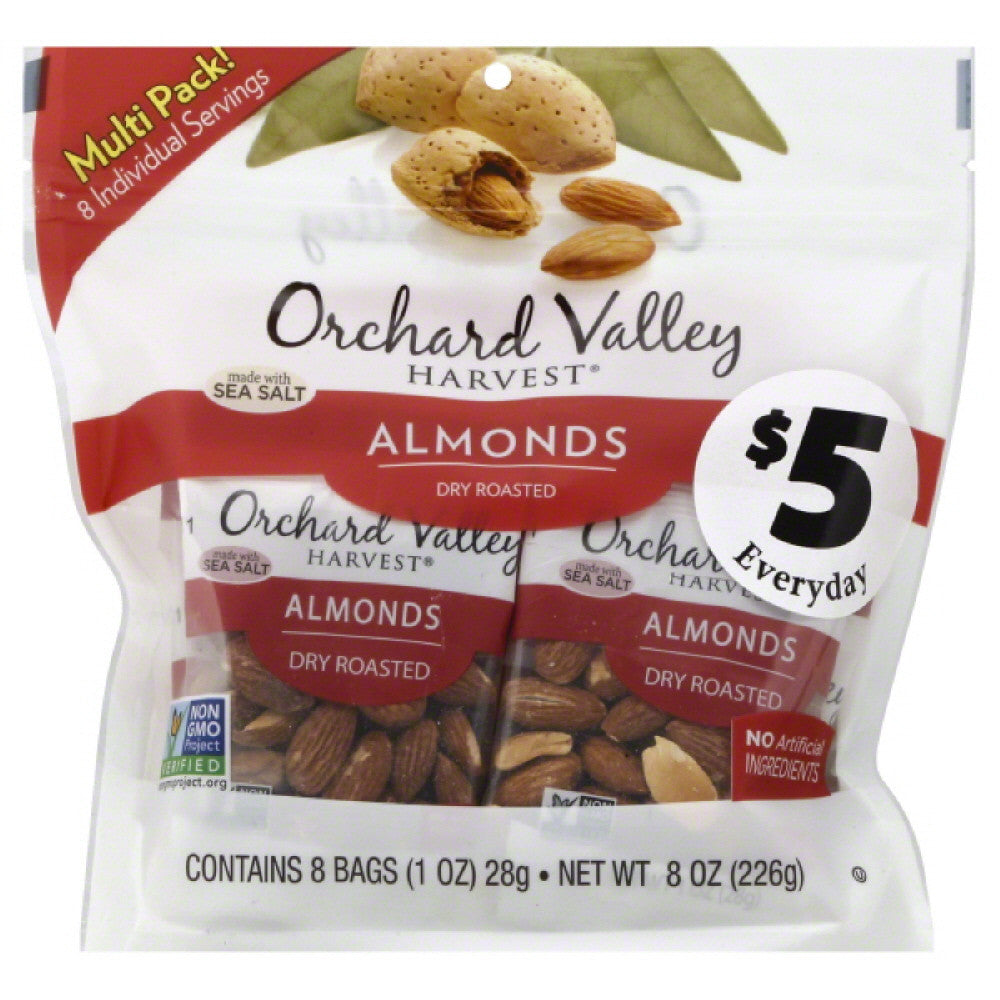 Orchard Valley Harvest Dry Roasted Almonds, 8 Oz (Pack of 8)