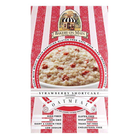 Bakery on Main Strawberry Shortcake Flavored Instant Oatmeal, 10.56 Oz (Pack of 6)
