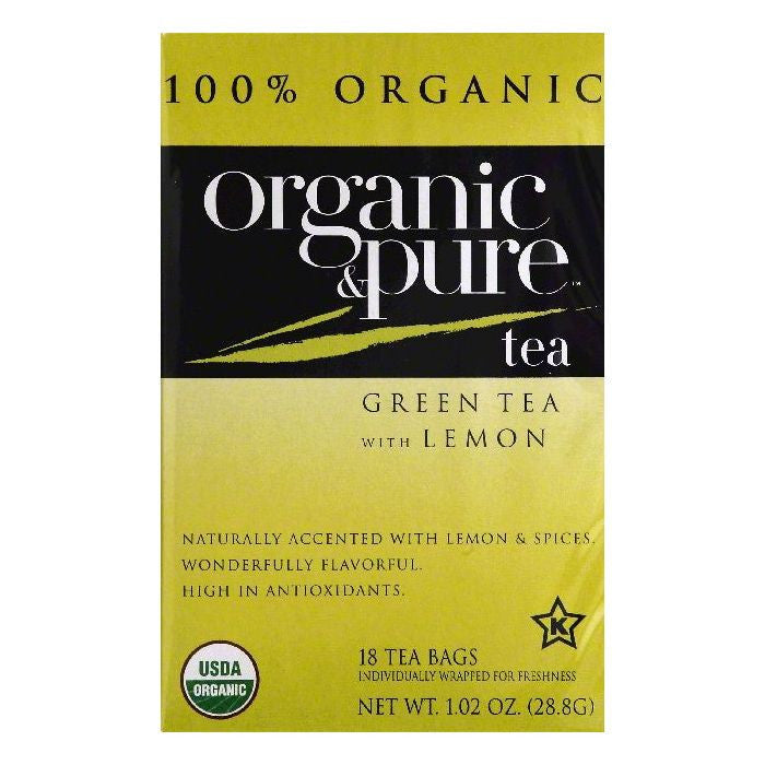 Organic & Pure Bags with Lemon Green Tea, 18 ea (Pack of 6)