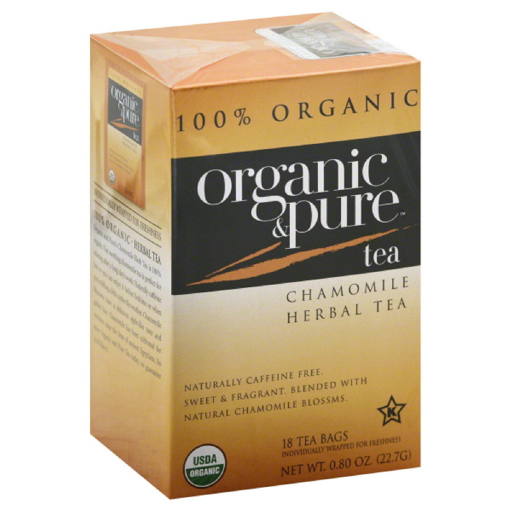 Organic & Pure Caffeine Free Chamomile Herbal Tea Bags, 18 Bg (Pack of 6)