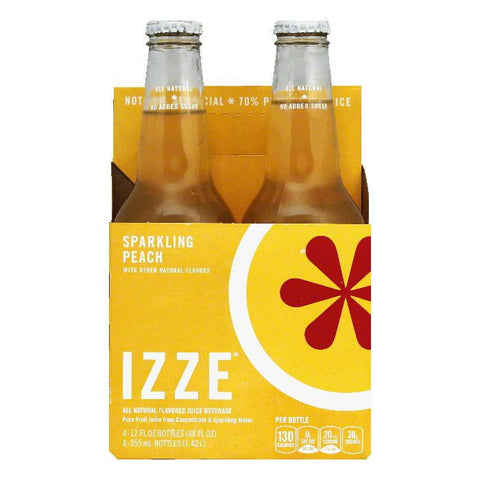 Izze Sparkling Peach Juice 4 pack, 48 FO (Pack of 6)