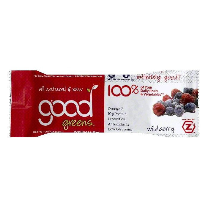 Good Greens Wildberry Wellness Bars, 1.76 OZ (Pack of 12)