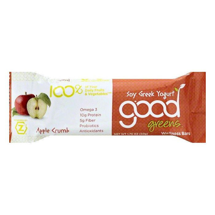 Good Greens Apple Crumb Soy Greek Yogurt Wellness Bar, 1.76 OZ (Pack of 12)