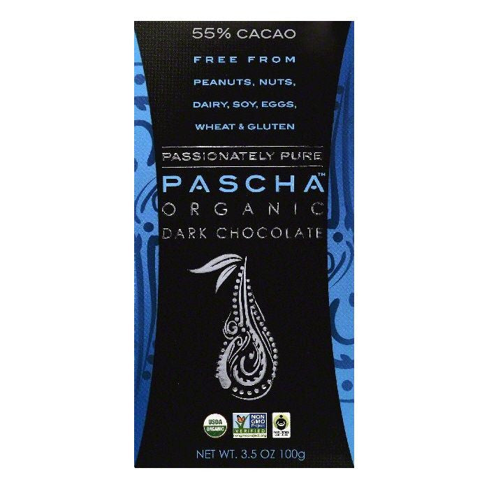 Pascha 55% Cacao Organic Dark Chocolate, 3.5 OZ (Pack of 10)