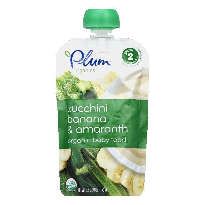 Plum Organics Baby Food Zucchini Banana Amarnth, 3.5 OZ (Pack of 6)