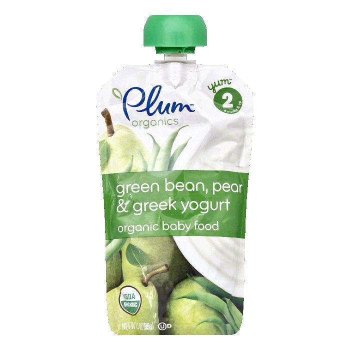 Plum Organics Yogurt Greek Greenbean Pear, 4 OZ (Pack of 6)
