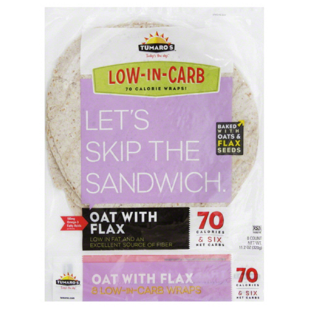 Tumaros Oat with Flax Wraps, 8 Pc (Pack of 6)