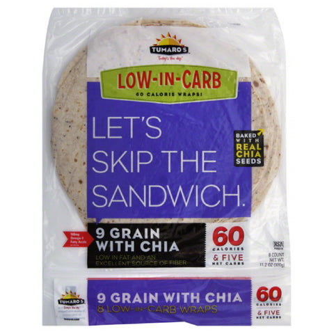 Tumaros 9 Grain with Chia Wraps, 8 Pc (Pack of 6)