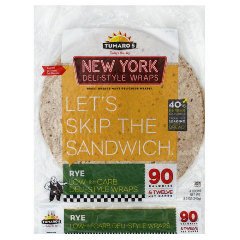 Tumaros Rye New York Deli-Style Wraps, 4 Pc (Pack of 6)