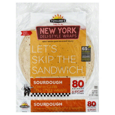 Tumaros Sourdough New York Deli-Style Wraps, 4 Pc (Pack of 6)