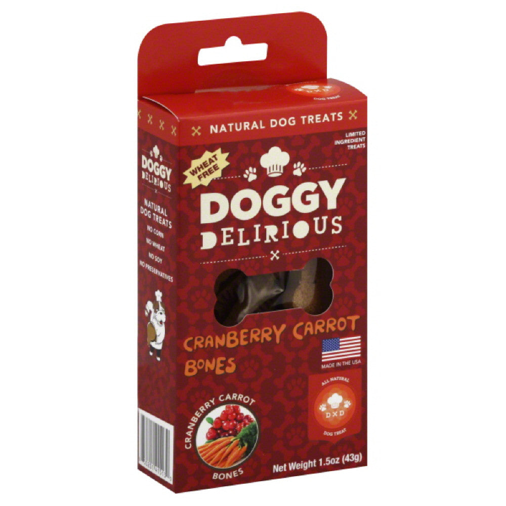 Doggy Delirious Cranberry Carrot Bones Dog Treats, 1.5 Oz (Pack of 12)