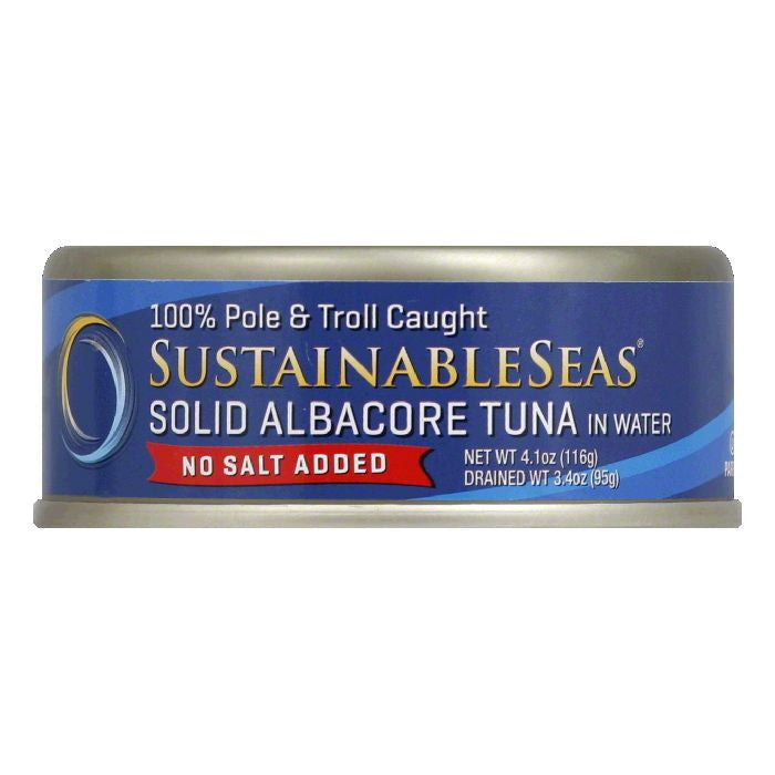 Sustainable Seas in Water No Salt Added Solid Albacore Tuna, 4.1 Oz (Pack of 12)
