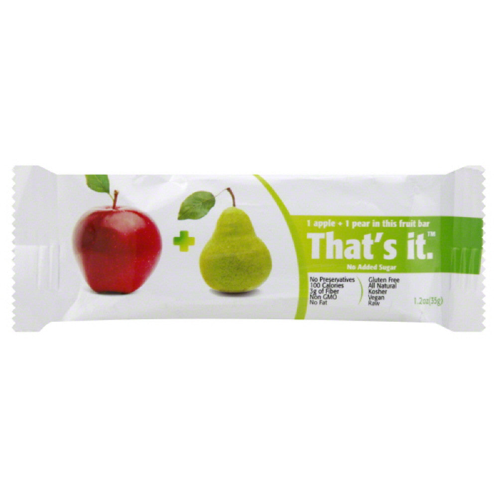 Thats It 1 Apple + 1 Pear Fruit Bar, 1.2 Oz (Pack of 12)