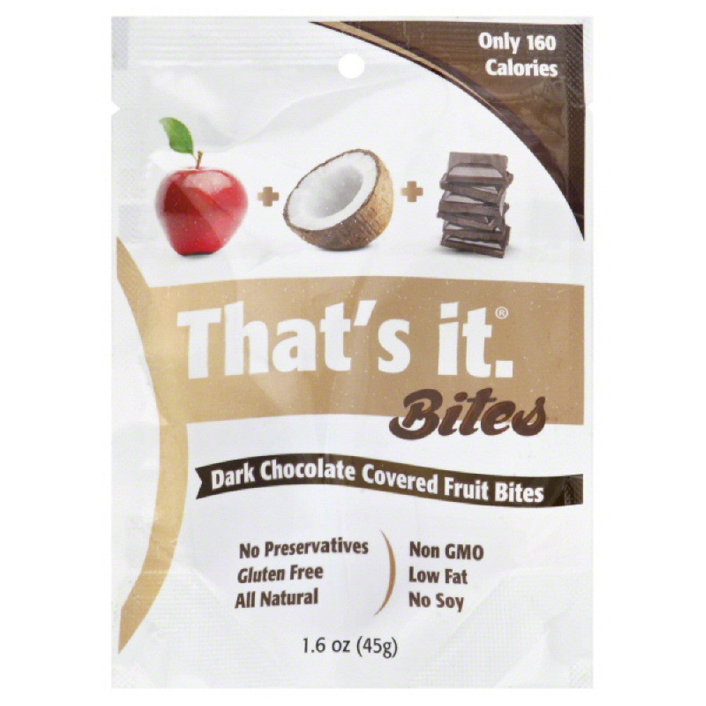 Thats It Apples + Coconut + Dark Chocolate Dark Chocolate Covered Fruit Bites, 1.6 Oz (Pack of 12)